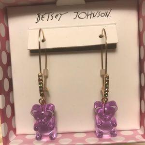 Betsey Johnson Purple Drop Gummy Bear Earrings